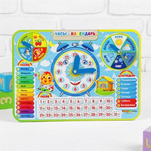 Календарь обучающий «Детский», с часами, из дерева в наличии - фото 101365113