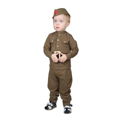 Костюм военного для мальчика: гимнастёрка, галифе, пилотка, трикотаж, хлопок 100%, рост 86 см, 1-2 года - фото 105522156