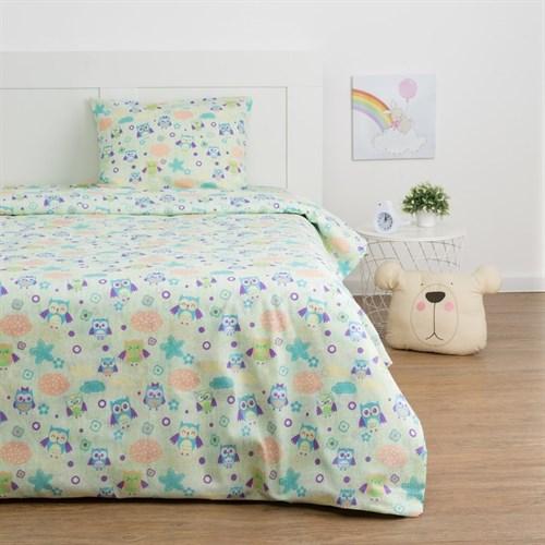 Детское постельное бельё Экономь и Я «Сова» 1.5сп, цвет зелёный, 147х210±5см, 150х214±5см, 50х70±5см - 1шт - фото 105556900