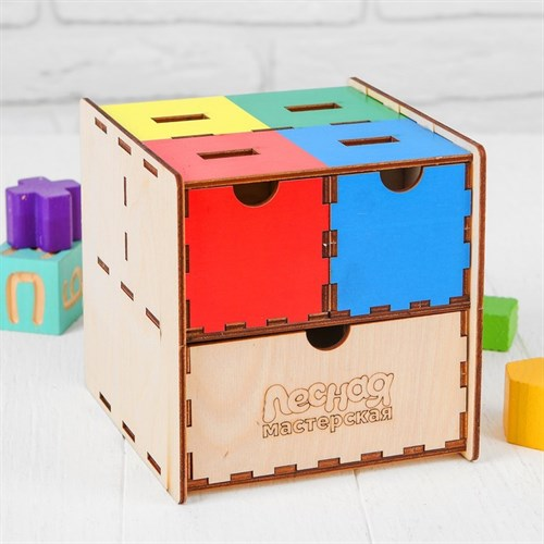 """Комодик-сортер развивающий """"Умный куб"""" в наличии - фото 105834797"""