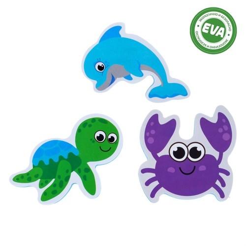 Набор игрушек для ванны «Морской мир»: фигурки-стикеры из EVA, 3 шт. в наличии - фото 105923320