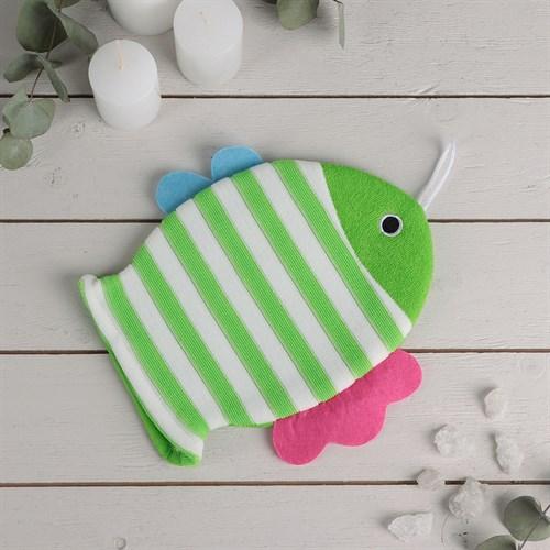 """Мочалка варежка детская 19×21 см """"Рыбка"""", полосатая, цвет МИКС в наличии - фото 106111932"""