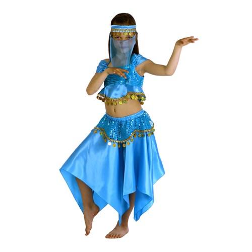 """Карнавальный костюм """"Восточная красавица. Лейла"""", повязка, топ, юбка, цвет голубой, р-р 32, рост 122-128 см - фото 106150063"""