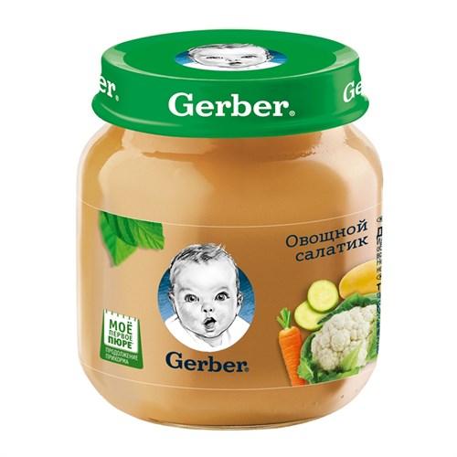 Gerber Овощное пюре Овощной салатик первая ступень 130г - фото 87343185