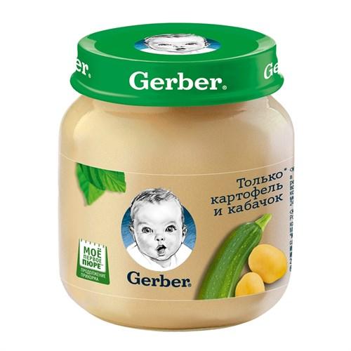 Gerber Овощное пюре Только Картофель и Кабачок первая ступень 130г - фото 87343186