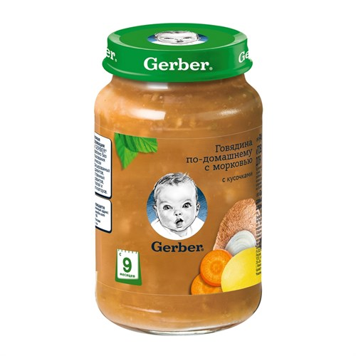 Gerber пюре Говядина по-домашнему с морковью с 9мес 190г детский обед - фото 87343244