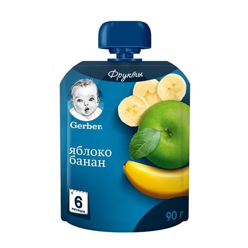 Gerber Фруктовое пюре Яблоко и банан с 6мес 90г пауч - фото 87343247