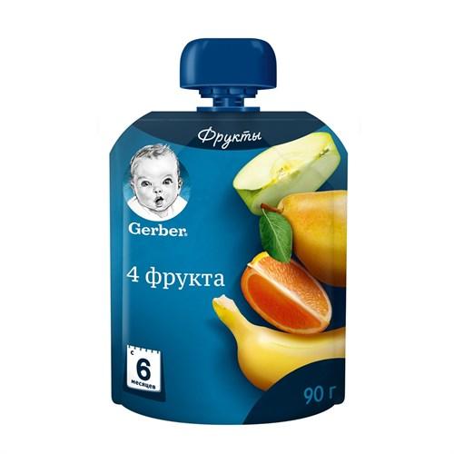 Gerber Фруктовое пюре 4 фрукта с 6мес 90г пауч - фото 87343248