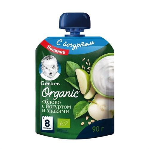 Gerber Organic фруктово-йогуртное органическое пюре яблоко со злаками с 8мес 90г пауч - фото 87343265