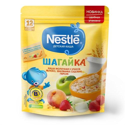Каша Nestle ШАГАЙКА молочная 5 злаков яблоко, земляника садовая, персик с 12 мес 200г с бифидобактериями BL - фото 87343268