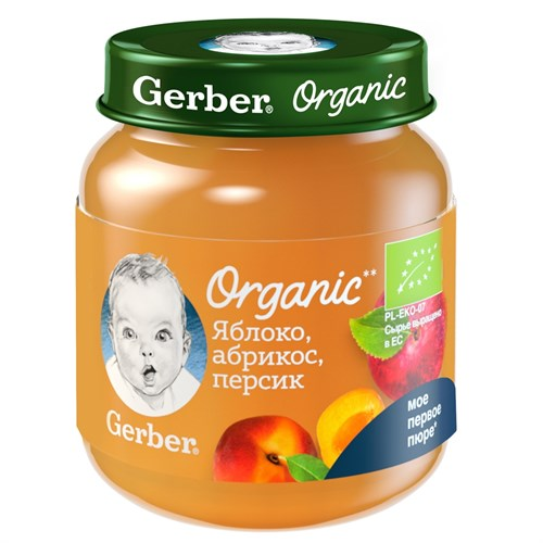 Gerber Organic фруктовое органическое пюре Яблоко, абрикос, персик с 5мес 125г - фото 87343275