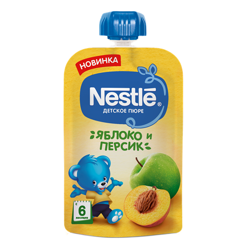 Nestle Яблоко Персик Пюре пауч с 6мес 90г - фото 87343284