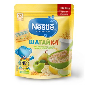 Каша Nestle ШАГАЙКА молочная 5 злаков яблоко, банан, груша с 12 мес 200г с бифидобактериями BL ПР