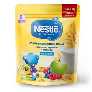 Каша Nestle Молочная мультизлаковая с яблоком, черникой и малиной с 6 мес 220г с бифидобактериями BL ПР