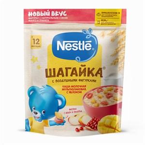 Каша Nestle ШАГАЙКА молочная мультизлаковая с яблоком и пшеничными фигурками с гранатом и манго, с 12 мес, 190г