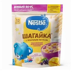 Каша Nestle ШАГАЙКА молочная мультизлаковая с бананом и пшеничными фигурками с черной смородиной и манго, с 12 мес, 190г