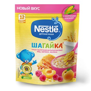 Каша Nestle ШАГАЙКА молочная мультизлаковая, мёд, абрикос, малина с 12 мес 190г с бифидобактериями BL
