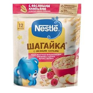 Каша Nestlé ШАГАЙКА молочная мультизлаковая с овсяными хлопьями земляника садовая, яблоко, малина с 12 мес 200г