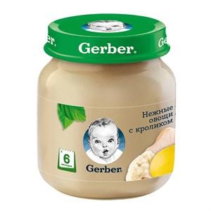 Gerber пюре Нежные овощи с кроликом с 6мес 130г детский обед