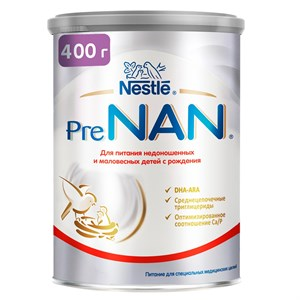 PreNAN cмесь для недоношенных и маловесных детей с рождения 400г