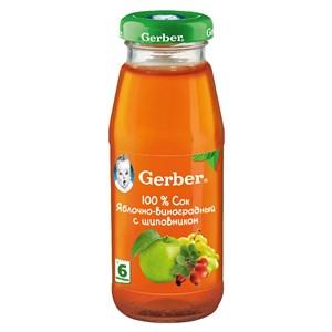 Gerber Сок яблочно-виноградный с шиповником осветленный с 6мес 175 мл