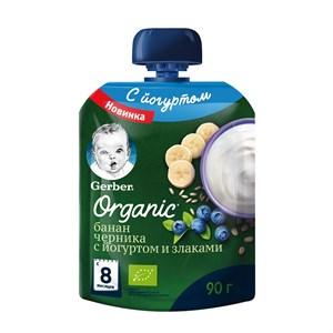 Gerber Organic фруктово-йогуртное органическое пюре банан, черника со злаками с 8мес 90г пауч