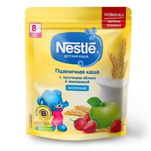 Каша Nestlé Молочная пшеничная с кусочками яблока и земляникой с 8 меcяцев 220г с бифидобактериями BL