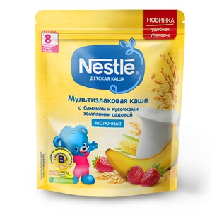 Каша Nestlé Молочная мультизлаковая с бананом и кусочками земляники с 8 мес 220г с бифидобактериями BL