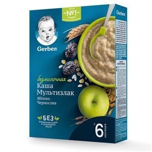 Каша Gerber Безмолочная Мультизлаковая с яблоком и черносливом с 6мес 180г с бифидобактериями