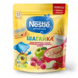 Каша Nestlé ШАГАЙКА молочная 5 злаков земляника садовая, яблоко, малина с 12 мес 200г с бифидобактериями BL