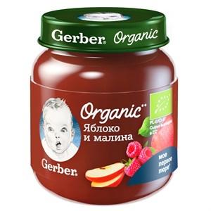 Gerber Organic фруктовое органическое пюре Яблоко и малина с 5мес 125г