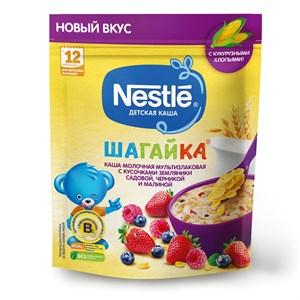 Каша Nestle ШАГАЙКА молочная мультизлаковая, земляника садовая, черника, малина с 12 мес 190г с бифидобактериями BL