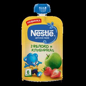 Nestle Яблоко Клубника Пюре пауч с 6мес 90г