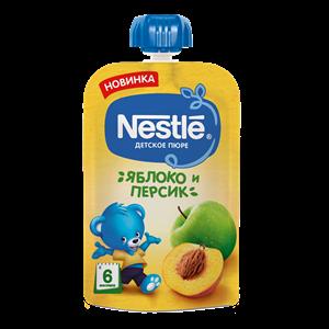 Nestle Яблоко Персик Пюре пауч с 6мес 90г