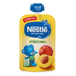 Nestle Персик Пюре пауч с 4мес 90г